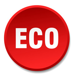 Eco red round flat isolated push button vector