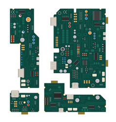 electronic circuit computer mother board with vector image