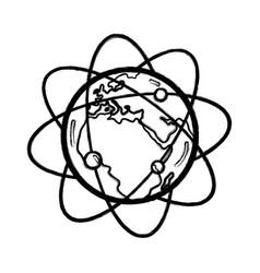 Figure geostationary orbits around earth planet vector