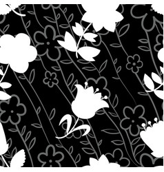 floral seamless pattern with white silhouettes of vector image vector image