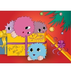 four cute colorful monsters in gift box christmas vector image vector image