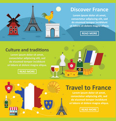 France travel banner horizontal set flat style vector