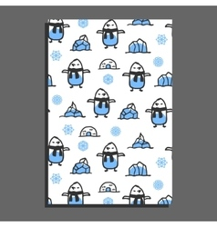 Greeting card template with cute cartoon pinguin vector