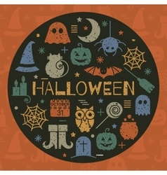 Halloween icons set in circle shape vector image vector image