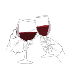 hand clinking glass if wine vector image