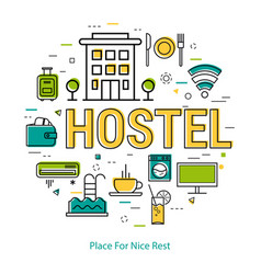 hostel - line concept vector image