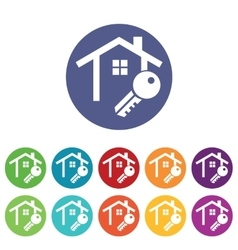 House key icons colored set vector
