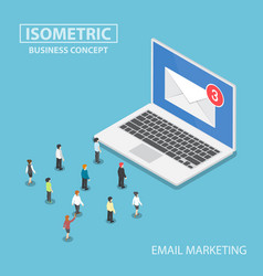 isometric business people looking to new email vector image vector image