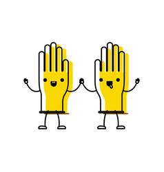 kawaii cartoon pair gloves holding hands in vector image