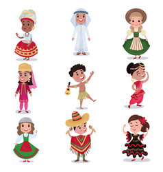 Kids in traditional clothes of different countries vector