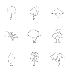 Kind of trees icons set outline style vector