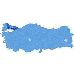 Map of turkey where istanbul province is pulled vector