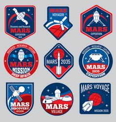 Mars colonization retro space logos and vector