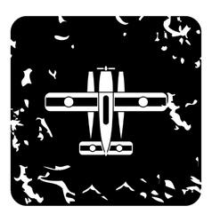 Military biplane icon grunge style vector