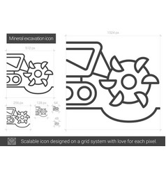 Mineral excavation line icon vector