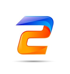 Number two 2 logo orange and blue color with fast vector