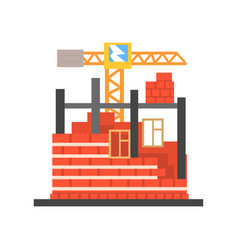 Process of building a brick house vector