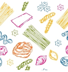 Sketch seamless pasta pattern vector