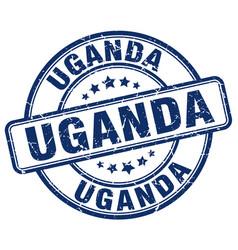 Uganda blue grunge round vintage rubber stamp vector