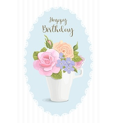 Vintage romantic card flowers in cup vector image