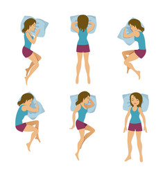Women sleeping positions vector