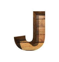 wooden cutted figure j Paste to any background vector image vector image