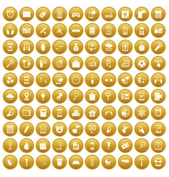 100 mobile app icons set gold vector