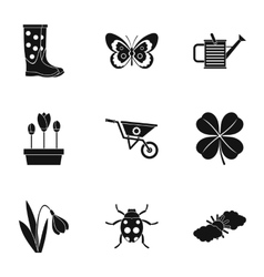 Garden icons set simple style vector