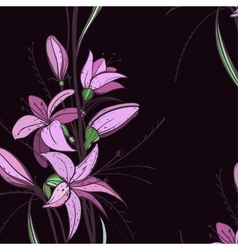 Lily Flowers on Dark Background vector image