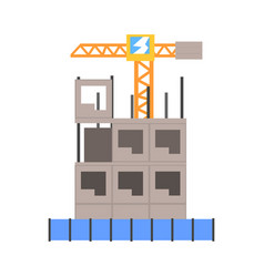 Process of construction of a multistory building vector