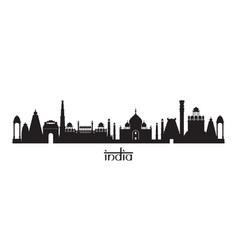 India landmarks skyline in black and white vector