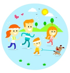 Family jogging time vector