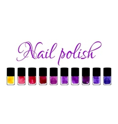 Background with watercolor painted nail polishes vector