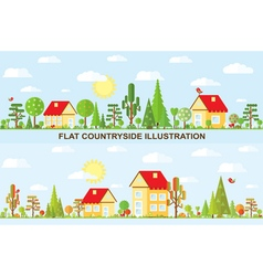 Flat tree and house autumn spring summer vector