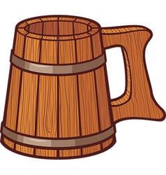 Wooden beer mug vector