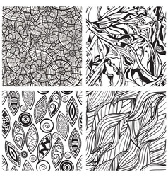 Seamless hand drawn patterns vector