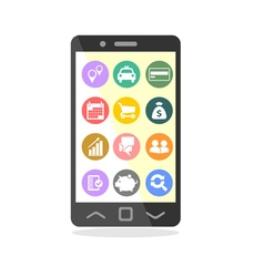 Mobile phone with business icons on screen vector