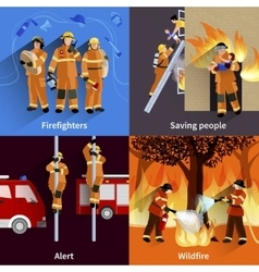 Firefighter people 2x2 design compositions vector