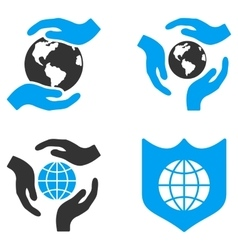 Global care flat bicolor icons vector