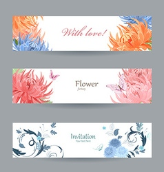 Collection horizontal banners with chrysanthemums vector