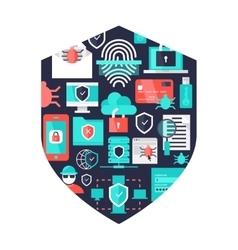 Computer security decorative elements vector