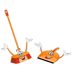 broom and dustpan cartoon vector image vector image