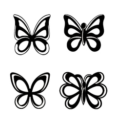 Butterfly silhouette isolated on white backgroun vector