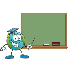 Cartoon Globe with a Blackboard vector image