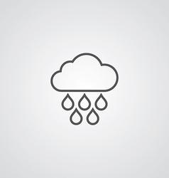 cloud rain outline symbol dark on white background vector image