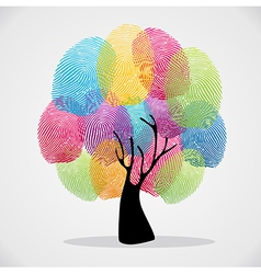 Colorful finger prints tree vector