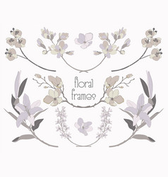 Colorful floral text frames branches vector
