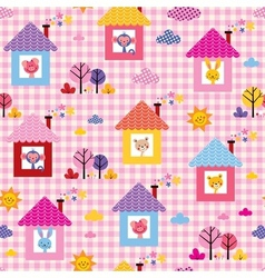 Cute baby animals in houses kids pattern vector