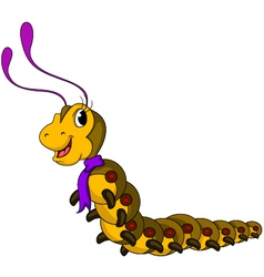 Cute yellow worm cartoon vector