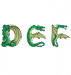 dragons alphabet def vector image